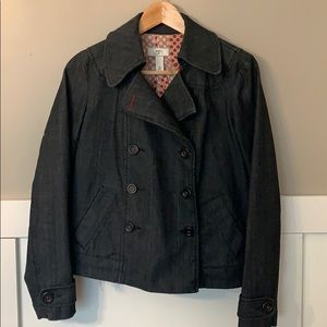 Ann Taylor Loft Denim Double Breasted Jacket